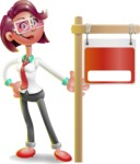 Business Girl 3D Vector Cartoon Character - Sign 9