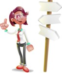 Business Girl 3D Vector Cartoon Character - Crossroad