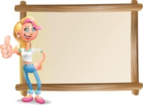Cute Blonde Girl In Jeans Cartoon Vector 3D Character AKA Rosie - Presentation 5