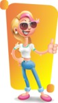 Cute Blonde Girl In Jeans Cartoon Vector 3D Character AKA Rosie - Shape 5
