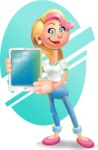 Cute Blonde Girl In Jeans Cartoon Vector 3D Character AKA Rosie - Shape 6