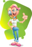 Cute Blonde Girl In Jeans Cartoon Vector 3D Character AKA Rosie - Shape 7