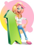 Cute Blonde Girl In Jeans Cartoon Vector 3D Character AKA Rosie - Shape 8