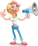 Cute Blonde Girl In Jeans Cartoon Vector 3D Character AKA Rosie - Loudspeaker