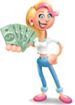 Cute Blonde Girl In Jeans Cartoon Vector 3D Character AKA Rosie - Show me  the Money