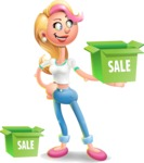 Cute Blonde Girl In Jeans Cartoon Vector 3D Character AKA Rosie - Sale