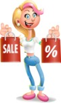 Cute Blonde Girl In Jeans Cartoon Vector 3D Character AKA Rosie - Sale 2
