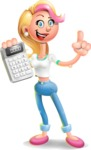 Cute Blonde Girl In Jeans Cartoon Vector 3D Character AKA Rosie - Calculator