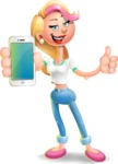 Cute Blonde Girl In Jeans Cartoon Vector 3D Character AKA Rosie - iPhone