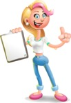 Cute Blonde Girl In Jeans Cartoon Vector 3D Character AKA Rosie - Notepad 1