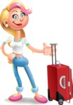Cute Blonde Girl In Jeans Cartoon Vector 3D Character AKA Rosie - Travel 1