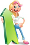 Cute Blonde Girl In Jeans Cartoon Vector 3D Character AKA Rosie - Pointer 1