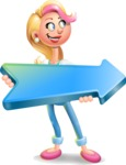 Cute Blonde Girl In Jeans Cartoon Vector 3D Character AKA Rosie - Pointer 2