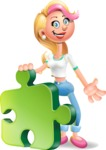 Cute Blonde Girl In Jeans Cartoon Vector 3D Character AKA Rosie - Puzzle