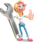 Cute Blonde Girl In Jeans Cartoon Vector 3D Character AKA Rosie - Repair