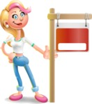 Cute Blonde Girl In Jeans Cartoon Vector 3D Character AKA Rosie - Sign 9