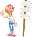 Cute Blonde Girl In Jeans Cartoon Vector 3D Character AKA Rosie - Crossroad