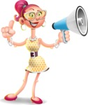 Fashion Girl Cartoon 3D Vector Character AKA Miss Charlene - Loudspeaker