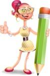 Fashion Girl Cartoon 3D Vector Character AKA Miss Charlene - Pencil