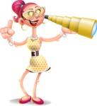 Fashion Girl Cartoon 3D Vector Character AKA Miss Charlene - Telescope