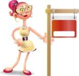 Fashion Girl Cartoon 3D Vector Character AKA Miss Charlene - Sign 9