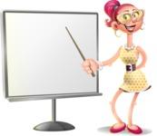 Fashion Girl Cartoon 3D Vector Character AKA Miss Charlene - Presentation 2
