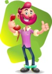 Hipster with Beard Cartoon Vector 3D Character AKA Bruno Smashing - Shape 7