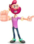 Hipster with Beard Cartoon Vector 3D Character AKA Bruno Smashing - Direct Attention