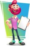 Hipster with Beard Cartoon Vector 3D Character AKA Bruno Smashing - Shape 11