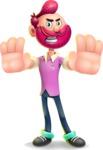 Hipster with Beard Cartoon Vector 3D Character AKA Bruno Smashing - Stop