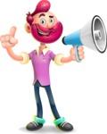 Hipster with Beard Cartoon Vector 3D Character AKA Bruno Smashing - Loudspeaker