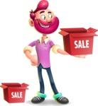 Hipster with Beard Cartoon Vector 3D Character AKA Bruno Smashing - Sale