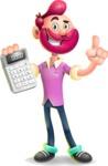 Hipster with Beard Cartoon Vector 3D Character AKA Bruno Smashing - Calculator
