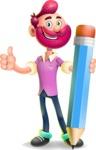 Hipster with Beard Cartoon Vector 3D Character AKA Bruno Smashing - Pencil