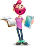 Hipster with Beard Cartoon Vector 3D Character AKA Bruno Smashing - Book and iPad