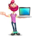 Hipster with Beard Cartoon Vector 3D Character AKA Bruno Smashing - Laptop 3