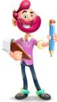 Hipster with Beard Cartoon Vector 3D Character AKA Bruno Smashing - Notepad 3