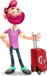 Hipster with Beard Cartoon Vector 3D Character AKA Bruno Smashing - Travel 1