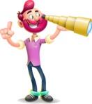 Hipster with Beard Cartoon Vector 3D Character AKA Bruno Smashing - Telescope
