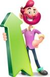 Hipster with Beard Cartoon Vector 3D Character AKA Bruno Smashing - Pointer 1