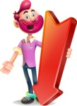 Hipster with Beard Cartoon Vector 3D Character AKA Bruno Smashing - Pointer 3