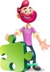 Hipster with Beard Cartoon Vector 3D Character AKA Bruno Smashing - Puzzle