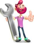 Hipster with Beard Cartoon Vector 3D Character AKA Bruno Smashing - Repair