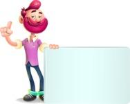 Hipster with Beard Cartoon Vector 3D Character AKA Bruno Smashing - Sign 7