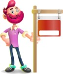 Hipster with Beard Cartoon Vector 3D Character AKA Bruno Smashing - Sign 9