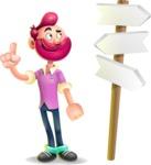Hipster with Beard Cartoon Vector 3D Character AKA Bruno Smashing - Crossroad