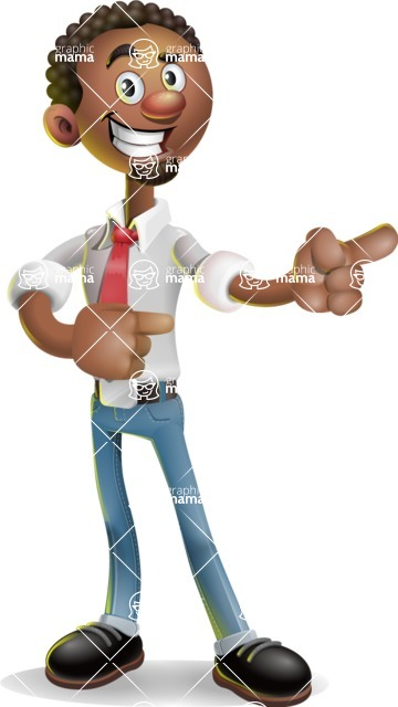 African-American Businessman 3D Vector Cartoon Character - Point 2