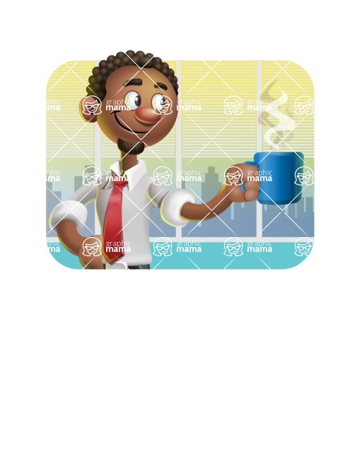 African-American Businessman 3D Vector Cartoon Character - Shape 2