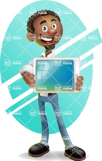 African-American Businessman 3D Vector Cartoon Character - Shape 6