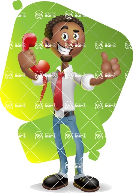 African-American Businessman 3D Vector Cartoon Character - Shape 7